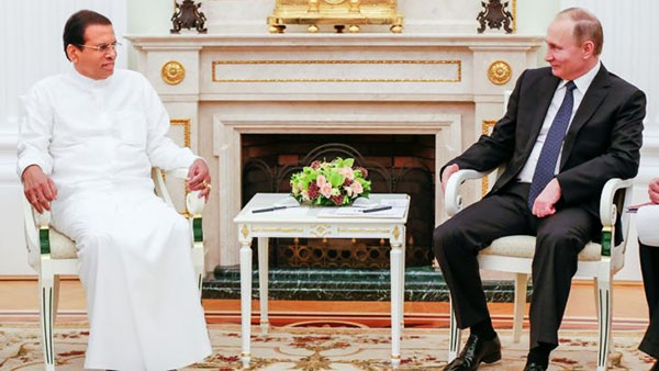Sri Lanka President Maithripala Sirisena with Russia President Vladimir Putin
