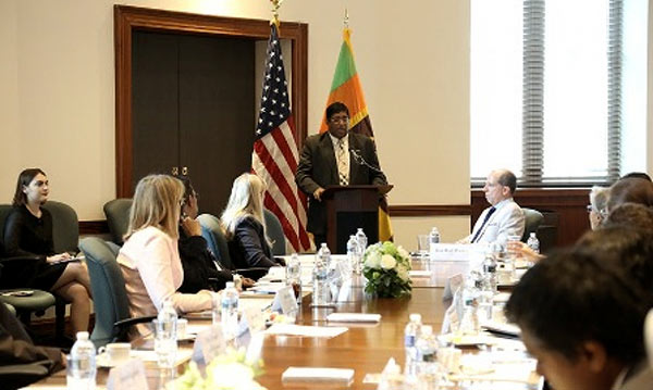 Minister of Finance Ravi Karunanayake speaking at the U.S. Chamber of Commerce