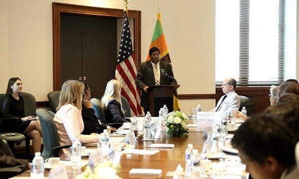 Minister of Finance Ravi Karunanayake speaking at the U.S. Chamber of Commerce