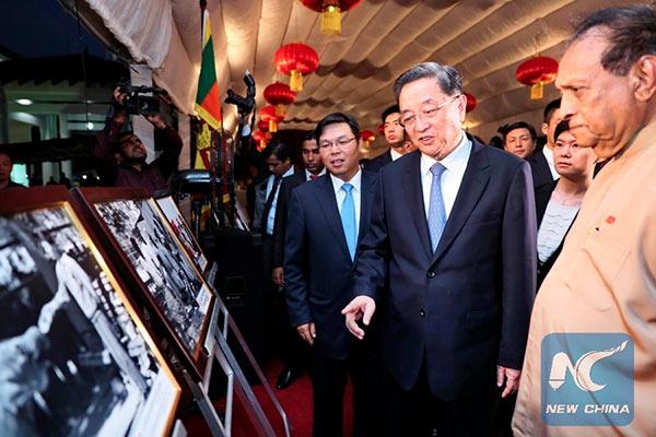 Sri Lanka speaker Karu Jayasuriya with Yu Zhengsheng