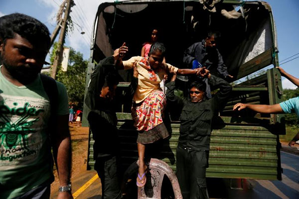 Flood rescue mission in Sri Lanka