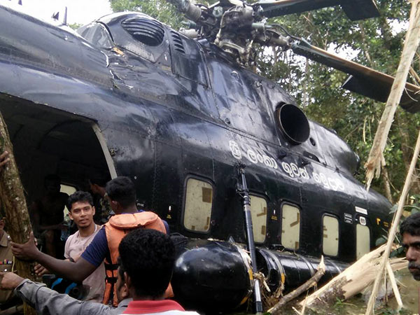 Helicopter crashes in Baddegama Sri Lanka