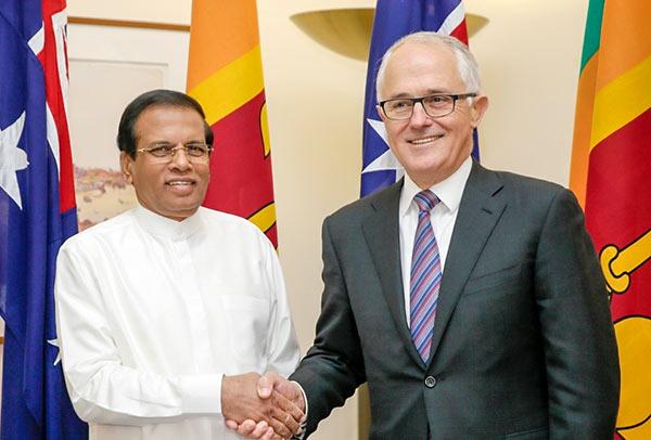 Sri Lanka President Maithripala Sirisena and Australian Prime Minister Malcolm Turnbull