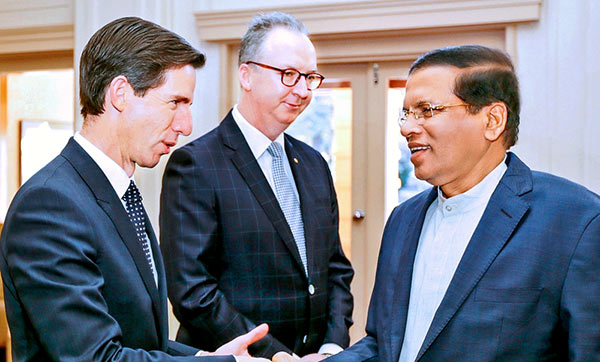 Sri Lanka President Maithripala Sirisena with Mark Fraser and Simon Birmingham in Australia
