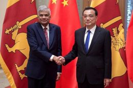 Sri Lankan Prime Minister Ranil Wickremesinghe with Chinese Premier Li Keqiang