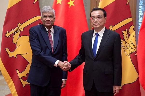 Sri Lankan Prime Minister Ranil Wickremesinghe with Chinese Premier Li Keqiang