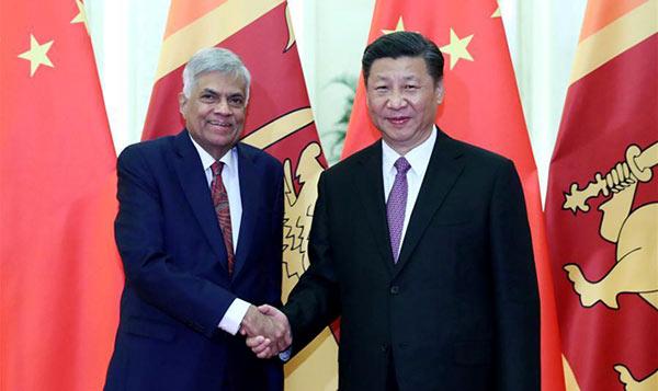 Sri Lankan Prime Minister Ranil Wickremesinghe with China President Xi Jinping