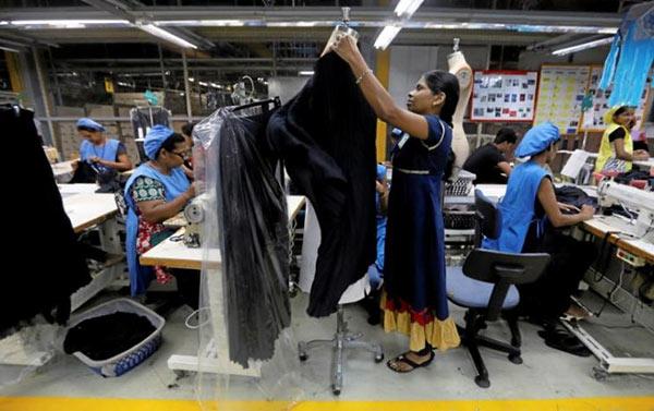 Women work in garments factory in Sri Lanka