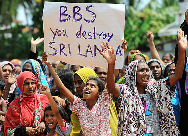 Sri Lanka Muslims on anti BBS protest