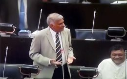 Ranil Wickremesinghe in parliament