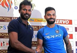 Sri Lanka Cricketer Upul Tharanga with India Cricketer Virat Kohli