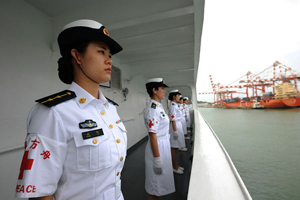 Chinese naval hospital ship Peace Ark arrives at the port of Colombo Sri Lanka