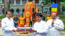 Sri Lanka President Maithripala Sirisena offered a Tusker elephant named Pulatisi Raja, to the Temple of the Sacred Tooth Relic - Sri Dalanda Maligawa