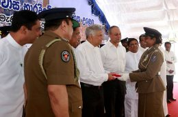 Prime Minister Ranil Wickremesinghe with Police