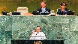 Sri Lanka President Maithripala Sirisena is addressing United Nations General Assembly