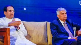Sri Lanka President Maithripala Sirisena with Prime Minister Ranil Wickremesinghe