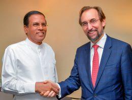 Sri Lanka President Maithripala Sirisena with Prince Zeid Al Hussein