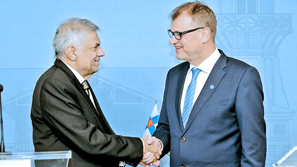 Prime Minister Ranil Wickremesinghe and Finland's Prime Minister Juha Sipilä
