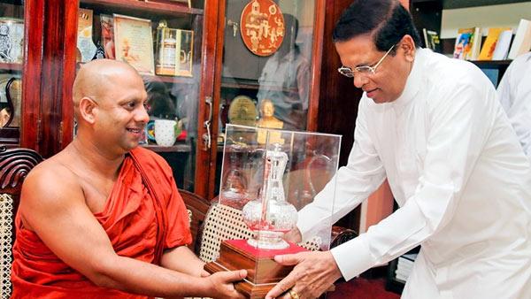 Ven. Medagoda Abhayathissa Thero with President Maithripala Sirisena