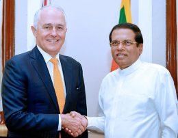Australian Prime Minister Malcolm Turnbull with Sri Lanka President Maithripala Sirisena