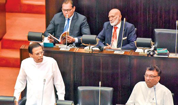 Sri Lanka President Maithripala Sirisena is at parliament