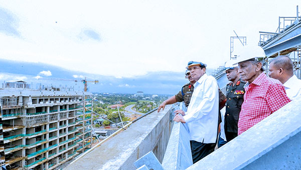 Sri Lanka President Maithripala Sirisena at the Defence headquarters in Akuregoda