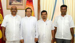 Weerakumara Dissanayaka and Piyasiri Wijeynayake with President Maithripala Sirisena