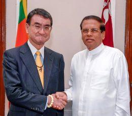 Foreign Minister of Japan Tharo Kono with Sri Lanka President Maithripala Sirisena