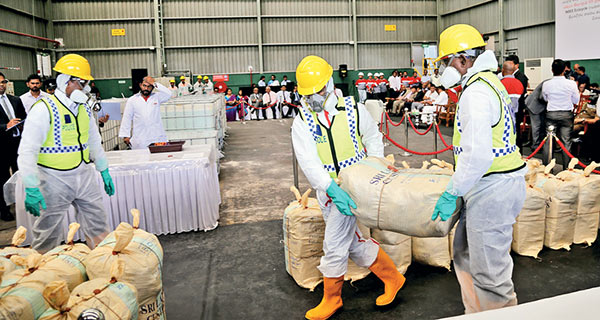 Largest haul of seized cocaine destroyed in Sri Lanka