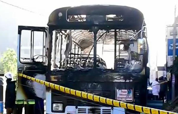 Bus caught fire in Kahagolla in Bandarawela Diyatalawa in Sri Lanka