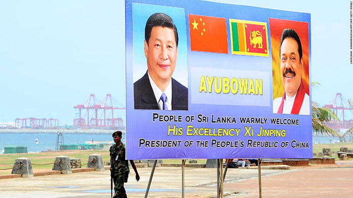 Chinese President Xi Jinping and former Sri Lankan president Mahinda Rajapakse in a billboard