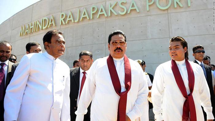 Former Sri Lanka president Mahinda Rajapaksa with his son Namal Rajapaksa