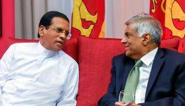 Sri Lanka President Maithripala Sirisena with Prime Minister Ranil Wickramasinghe