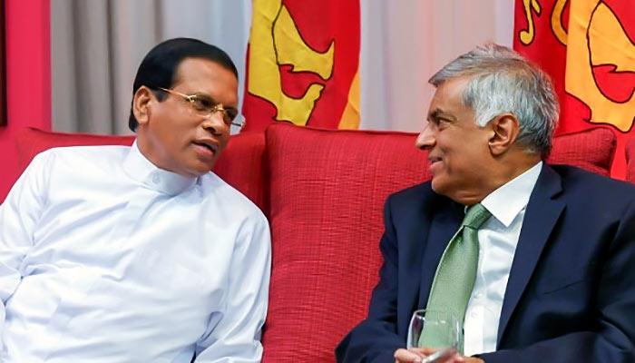 Maithripala Sirisena with Ranil Wickramasinghe