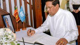 Sri Lanka President signs condolence book on Ms Una Mccauley's demise