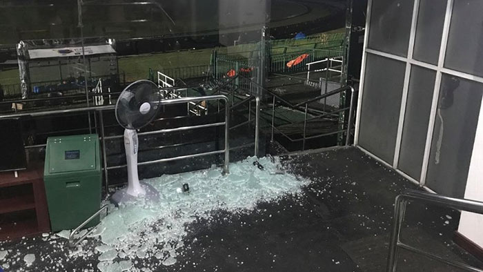 Bangladesh's Cricket dressing room door damaged in Colombo Sri Lanka