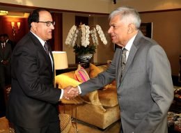 Singapore Minister of Trade and Industry Mr. S Iswaran with Sri Lanka Prime Minister Ranil Wickramasinghe