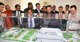 Sri Lanka President Maithripala Sirisena at modern waste management centre in Shinagawa in Tokyo Japan