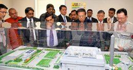Sri Lanka President Maithripala Sirisena at modern waste management centre in Shinagawa in Tokyo Japan