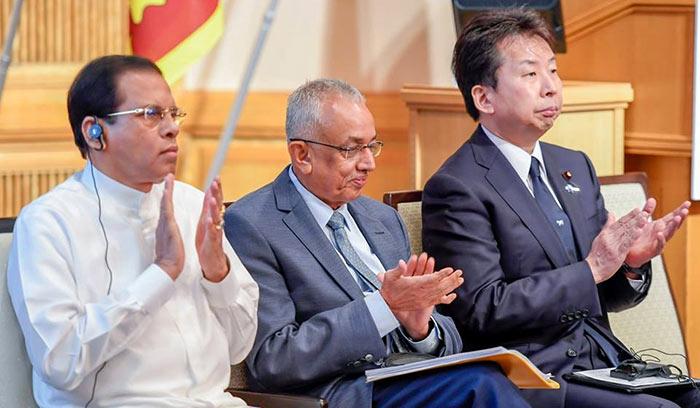Sri Lanka President Maithripala Sirisena with Malik Samarawickrama in Japan