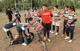 Namal Rajapaksa is on a rugby training session