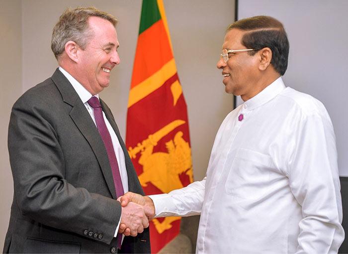 Sri Lanka President Maithripala Sirisena with Liam Fox