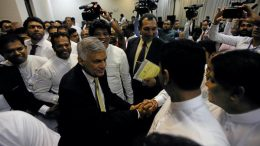 Sri Lanka Prime Minister Ranil Wickremasinghe after defeating no-confidence motion