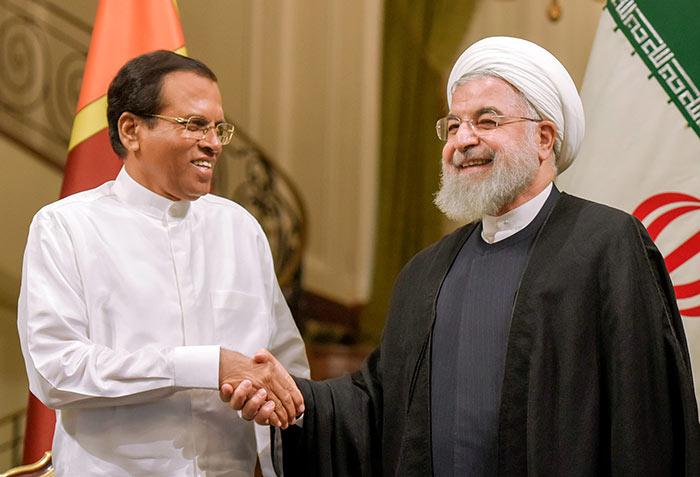 Sri Lanka President Maithripala Sirisena met Iran President Hassan Rouhani