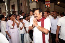 Former Sri Lanka President Mahinda Rajapaksa at Sri Dalada Maligawa