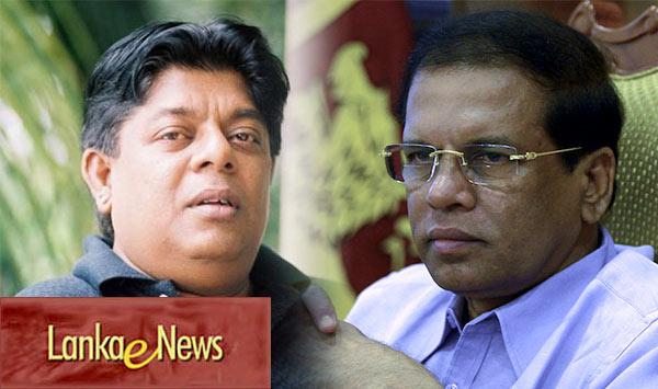 Lankaenews Editor Sandaruwan Senadheera and Sri Lanka President Maithripala Sirisena