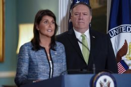 U.S. Ambassador to the United Nations Nikki Haley together with U.S. Secretary of State Mike Pompeo