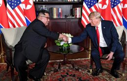 U.S. President Donald Trump with North Korean leader Kim Jong Un - face to face meeting