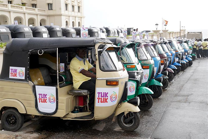 Tuk tuk drivers in Colombo Sri Lanka