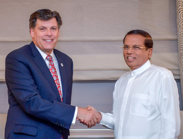 Sri Lanka President Maithripala Sirisena and Brock Bierman